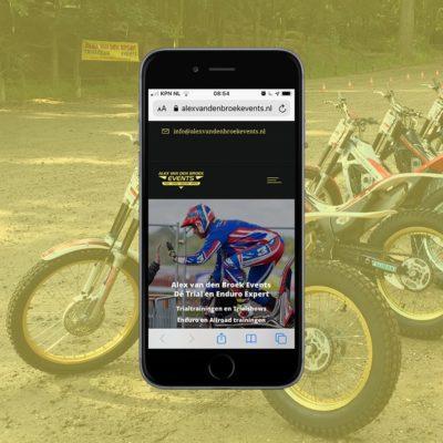 portfolio - Alex van den Broek events - een website voor Nederlands trial en enduro kampioen Alex van den Broek